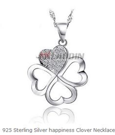 925 Sterling Silver happiness Clover Necklace Cheap Silver Jewelry, Crystal Jewelry, Clover Necklace, Happiness, Pendant Necklace, Crystals, Sterling Silver, Bonheur, Crystal