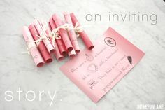 super cute story book invites or creative appointment cards. thanks yous  ect...