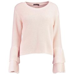 Boohoo Petite Lauren Ruffle Sleeve and Hem Jumper ($26) ❤ liked on Polyvore featuring tops, sweaters, jumpers sweaters, frill sleeve top, flutter sleeve top, petite tops and pink jumper