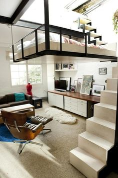 Loft home - Suspended bed - Small space living - Clean and contemporary…