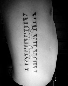 Mens Rib Cage Side Roman Numeral With Negative Space Design