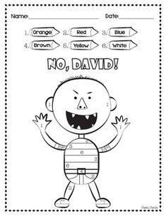 Enjoy these fun activities to help your students' creativity after reading David's books. - Color by Number- 5 Rules (No, David / Yes, David)- 4 Things you use to do- Drawing ActivityHope they enjoy!Thank you for stopping by :)____________________________ No David, Beginning Of School, First Day Of School, Back To School, Starting School, Math Resources, Book Activities, English Activities, Alphabet Activities