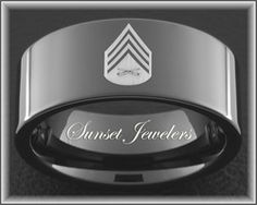 Usmc Black Tungsten Men S Wedding Ring Engraved With Marine Sergeant Rank Free Inside Engraving