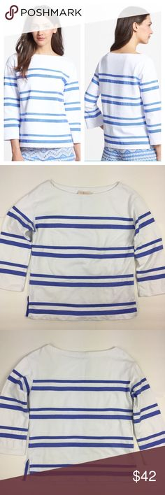"""Tory Burch Kendall Grosgrain Stripe Top Boatneck top with a grosgrain stripe detail. 100% Cotton (weighted cotton not thin). 3/4"""" sleeves with vented cuffs. Side vents at bottom. Dry clean. Measurements: length is approx. 22 1/4""""; chest (underarm to underarm) is approx. 18 1/2"""". Gently used. No stains or holes. ❌NO TRADES❌NO PAYPAL❌ Tory Burch Tops"""