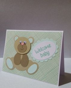 Baby Card with bear.  Custom color bear and paper to your specifications.