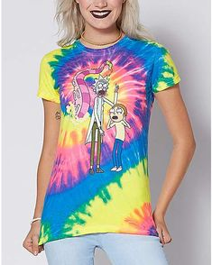 c084e0b9 Spiral Tie Dye Rick and Morty T Shirt - Rick and Morty - Spencer's