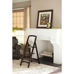 Offering as much style as functionality, this wooden step ladder features an elegant mahogany finish in a modern, furniture-style design. The step stool includes a sturdy support rail and large steps to ensure stability, with an additional locking feature on the top step.