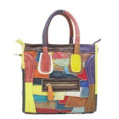KOKO Multicolour Elegant Genuine Leather Split Joint Design Zipper Handbag Messenger Bag - Blue Products- - TopBuy.com.au