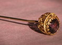 Antique Hat Pin w/ Amethyst Purple Stone and Gold Filigree