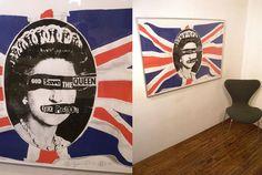 サイン有 Jamie Reid ジェイミー・リード 旗×QUEEN Sex Pistols_画像1