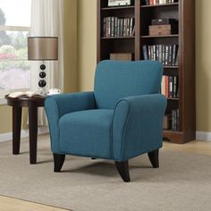 Portfolio Seth Caribbean Blue Linen Curved Back Arm Chair | Overstock™ Shopping - Great Deals on PORTFOLIO Living Room Chairs