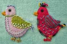 Robin Atkins embroidered, wool applique chicks Wool Applique Chicks with Emerging Personalities