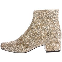 Pre-owned Saint Laurent Babies Glitter Ankle Boots (2.810 RON) ❤ liked on Polyvore featuring shoes, boots, ankle booties, gold, gold booties, metallic ankle boots, glitter ankle boots, gold ankle boots and gold glitter boots