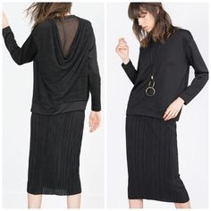 """Zara Black Draped Back Sweatshirt Top This sweatshirt has a stylish draped back that gives it more of a dressy look. It's a sweatshirt that could be dressed up for a polished & fun look{actual color of item may vary slightly from pics}  *shoulders:23"""" *chest:23.5"""" *waist:22.5"""" *length:26.5""""/sleeves:21"""" *tag has been cut feels like a light sleek polyester type material  *fit:true *condition:good/no rips/stains  20% off bundles of 3/more items No Trades  NO HOLDS No transactions outside of…"""