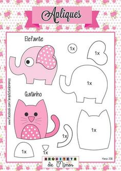 Felt Templates, Applique Templates, Applique Patterns, Applique Designs, Card Templates, Felt Animal Patterns, Stuffed Animal Patterns, Stuffed Animals, Quilt Baby
