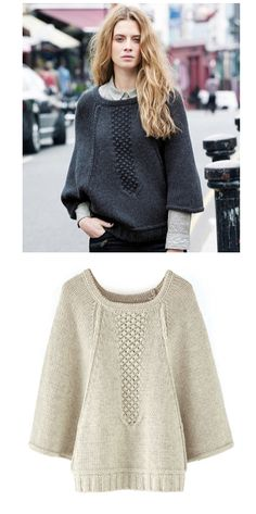 a capestyle with the ease of a pullover - I love the inset seed stitch panel to allow for exaggerated raglan lines.