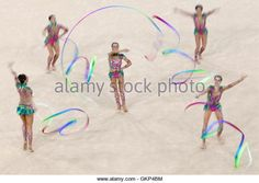 Rio De Janeiro, Brazil. 21st Aug, 2016. The Russian gymnasts compete to win the rhythmic gymnastics group all-around - Stock Image