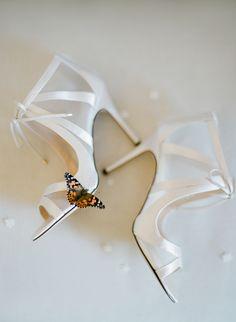 Elegant white ribbon stilettos: http://www.stylemepretty.com/2017/05/01/whimsical-alfresco-wedding-in-santa-ynez/ Photography: Jose Villa - http://josevilla.com/