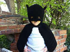 "Original pinner said, ""Free crochet pattern for batman inspired dress up. I plan on making this in pink for bat girl"