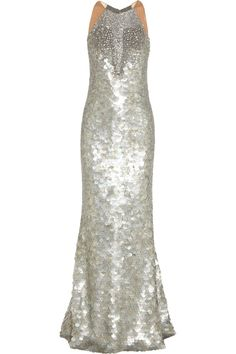 KAUFMANFRANCO|Crystal and paillette-embellished silk gown|NET-A-PORTER.COM