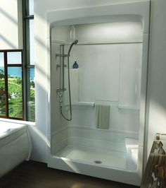 Built-in shelves Soap dishes Towel bar Built-in seat (optional) Roof cap Roof Cap, Cottage Bath, Built In Seating, Shower Drain, Privacy Glass, Built In Shelves, Plumbing Fixtures, Dream Bathrooms, Bath Design