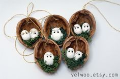 Owl Ornament set - Rustic Christmas Decorations - animal ornament- Walnut ornament- nutshell Christmas Tree Ornament- Christmas Ornament by Velwoo on Etsy https://www.etsy.com/listing/255362946/owl-ornament-set-rustic-christmas