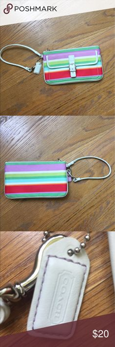 Coach summer wallet/ wristlet Fun wristlet! Slightly used, no damage. Coach Bags Clutches & Wristlets