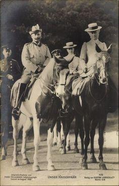 Ak Unser Kasierpaar, Wilhelm II, Auguste Victoria, Pferde - 1495409