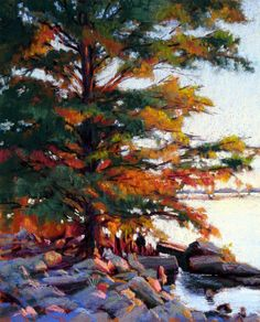 """""""Cypress Evening"""" is a pastel, 14"""" x 11"""" for $675. The scene is from Lake Seminole, at the Georgia / Florida line. The evening sun was so intense this day and created this fantastic orange and pink light on the rocks and the cypress tree. www.marshasavage.com"""