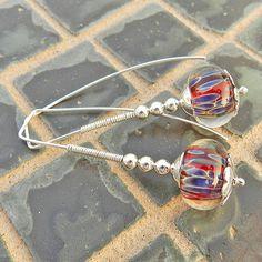 Red earrings blue red lampwork earrings geometric by SAStudio, $39.00