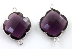 Natural Purple Amethyst Bezel Clover Gemstone by Beadspoint, $9.99