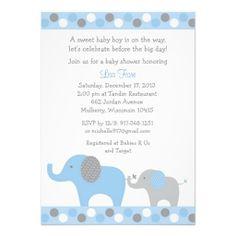 Polka Dot Elephant Baby Shower Invitations