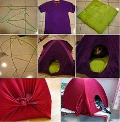 DIY+Home+For+Your+Pet.+All+you+need+is+2+Hhangers+++1+Old+Pillow+++1+T-shirt.jpg (403×411)