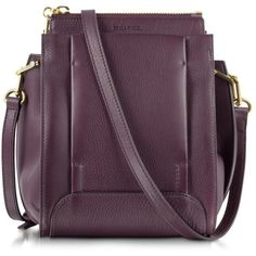 Sonia Rykiel Edgar Aubergine Small Leather Crossbody Bag ($649) ❤ liked on Polyvore featuring bags, handbags, shoulder bags, crossbody shoulder bag, leather shoulder handbags, purple shoulder bag, leather handbags and leather crossbody