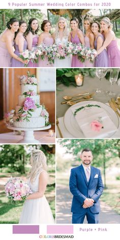 9 Popular Summer Wedding Color Combos for Purple + Pink. wedding bridesmaids 9 Popular Summer Wedding Color Combos for 2020 Purple Summer Wedding, Summer Wedding Colors, Pink Summer, Wedding Colours, Lavender Bridesmaid Dresses, Wedding Bridesmaids, Hot Pink Weddings, Romantic Weddings, Pink Centerpieces