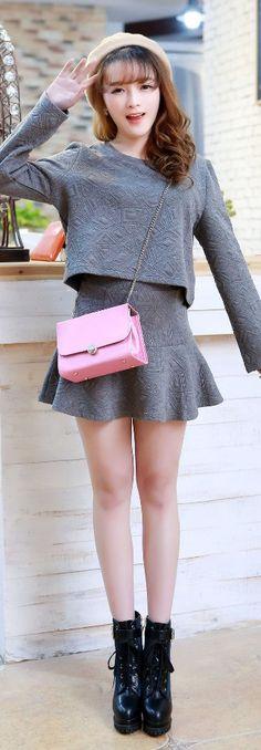 elegant top skirt set falbala clearance ghl0046