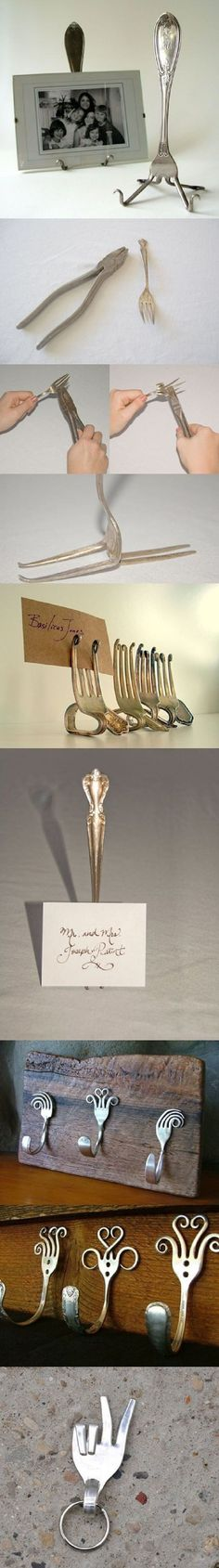 cubiertos Diy Projects To Try, Craft Projects, Craft Ideas, Fork Crafts, Fork Art, Spoon Art, Silverware Jewelry, Cutlery Art, Spoon Jewelry