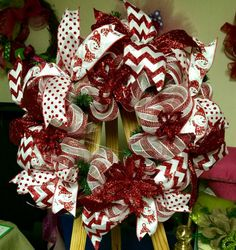 Red and white candy cane deco mesh by MrsChristmasWorkshop on Etsy