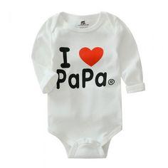 Cute Cotton I love Papa Unisex Baby Onesies Long Sleeve White