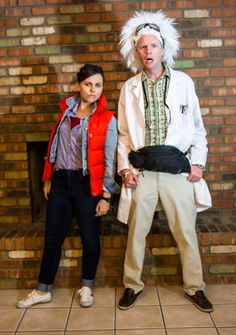 Couple's Halloween Costume- back to the future with doc and marty More