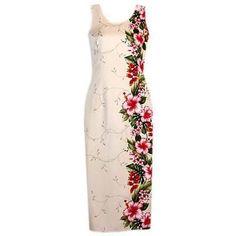 Long, Dress, Hawaiian - Paradise Cream Hawaiian Long Dress