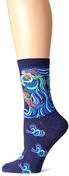 K. Bell Socks Women's Laurel Burch Dancing Mermaids Crew, Navy, 9-11