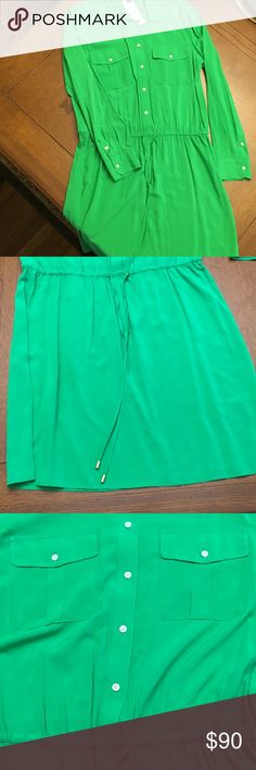 Lovely Green Lauren Shirt Dress Lovely Green Lauren Long Sleeve Shirt Dress with drawstring waist, and 2 front pockets. Lauren Ralph Lauren Dresses Long Sleeve