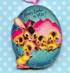 Happy Easter Glitter Ornament Decoration Egg Duck Bunny Rabbit Vtg Card Img