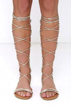 df6cfc02fbc Gilded Gal Gold Tall Gladiator Sandals at Lulus.com!  SandalsHeels Pretty  Sandals