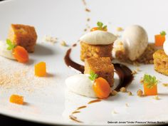 Thomas Keller's Carrot Cake with Cream Cheese Icing, Candied Walnut Crunch, Black Raisin Coulis, Carrot Buttons, Indonesian Cinnamon Ice Cream and Gelee de Carrotte et Sa Poudre: