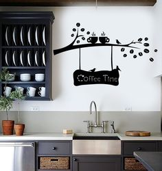 Vinyl Wall Decal Coffee Beans Branch Cup Birds Kitchen Decor Stickers (ig4158)