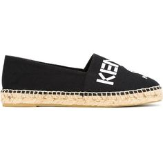 Kenzo Kenzo Paris Espadrilles (605 SAR) ❤ liked on Polyvore featuring shoes, sandals, black, black flat shoes, black sandals, black flat sandals, leather shoes and leather flat shoes