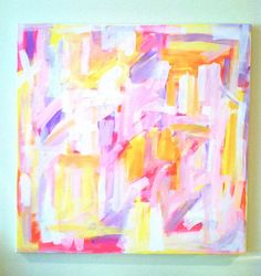 love these colors for webpage and logo, hot pink, yellow, turquiose, light pink, pastels and soft watercolors -Abstract Painting, Celebrating Summer, 26 x 26