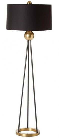 Arteriors Hadley | Floor Lamp in black and gold with a circular base and a round lampshade.